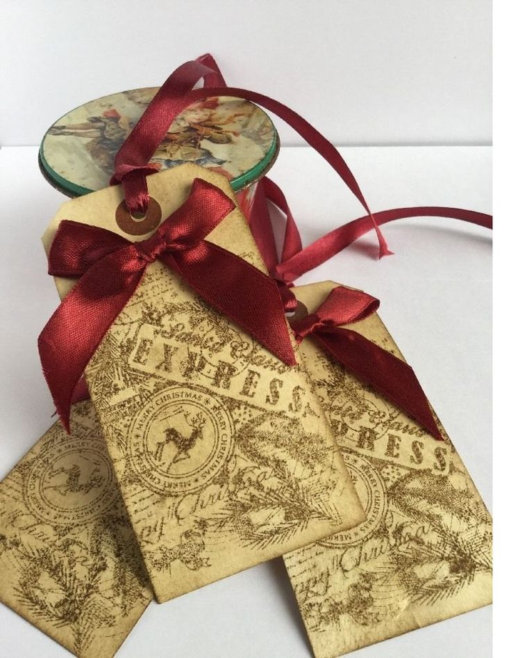 10 Handmade Christmas Santa Claus Express vintage gift tags Scented by MTBCreations on Etsy