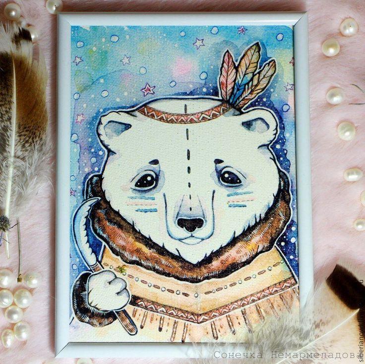 Мишки на Севере.Рисунок на холсте. Этно стиль - синий,мишка,мишка ручной работы