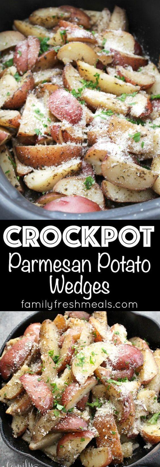 Crockpot Parmesan Potatoes yummy recipe #crockpot #slowcooker #potatoes