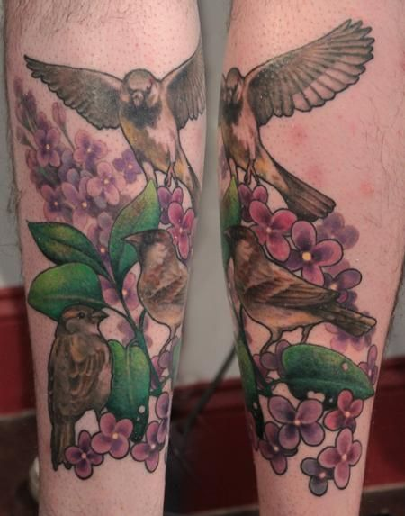Gene Coffey - Sparrow Family and Flowers Tattoo