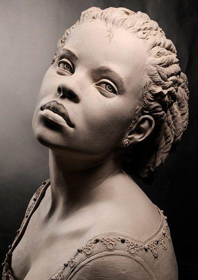 Escultura arcilla- Philippe Faraut.  Sculpture of african american woman. wow