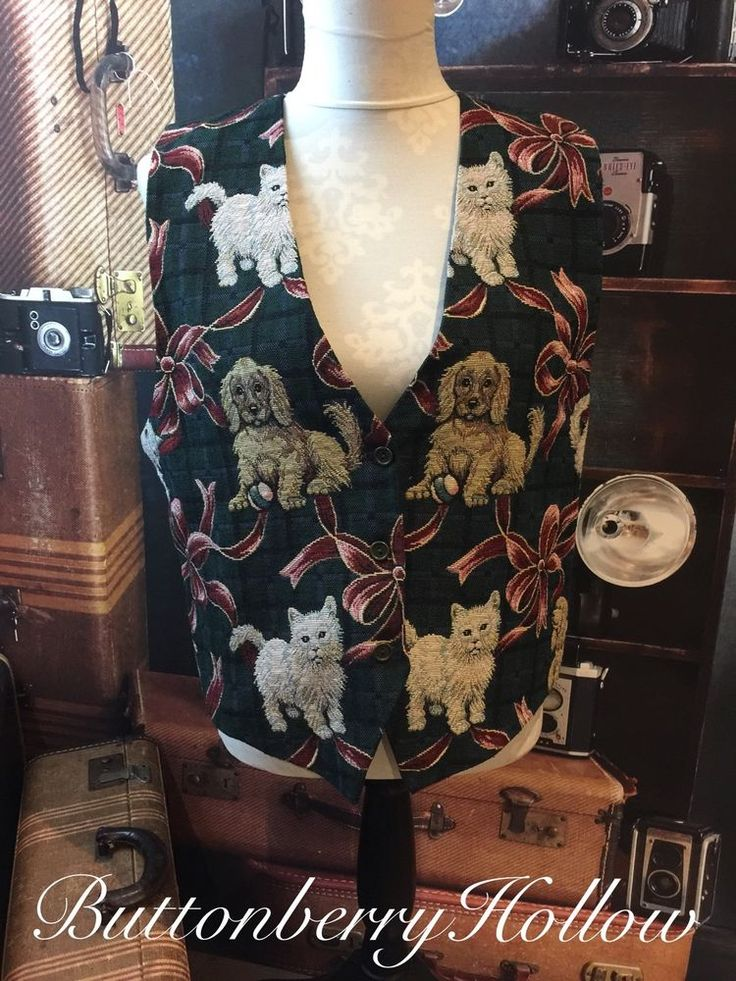 Women's Tapestry Dog & Cat PAUL HARRIS Design Kittens Crazy Cat Lady Vest SZ L  | eBay