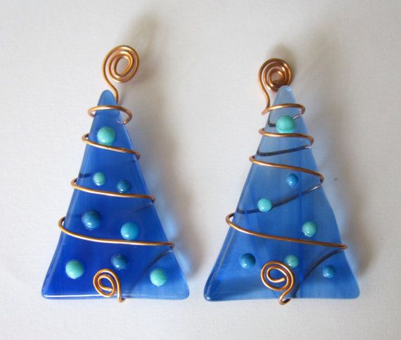blue wire wrapped fused glass christmas tree ornament set of 2 on etsy - Glass Christmas Trees