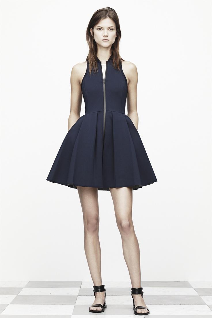 T by Alexander Wang Pleated Neoprene Scuba Dress in Navy Size Small S