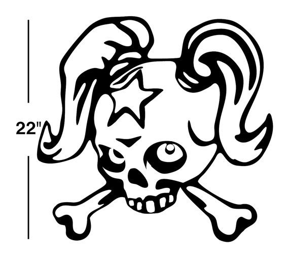 Goth Girl Skull Decal Sticker Wall Art Car Auto Truck