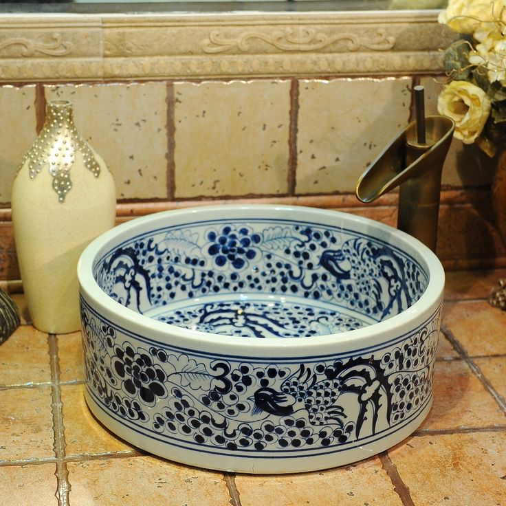 from China ceramic brick Suppliers: Blue and white Jingdezhen factory directly hand ceramic wash hand basin sizes