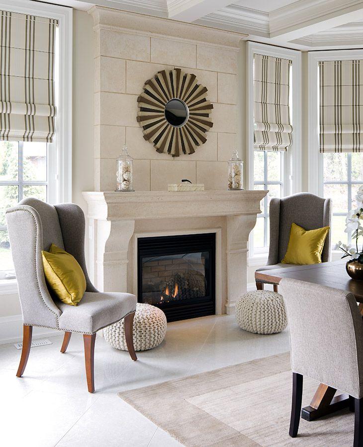 Plainfold stripe roman shades fireplace designs jane for Keeping room ideas