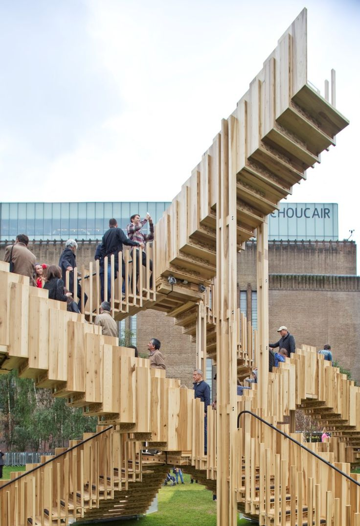 ndless Stair is made up of a series of timber flights, some veering to the right some to the left, providing many ways to explore the installation, which ultimately leads to the top flight that acts as a dramatic viewing platform.