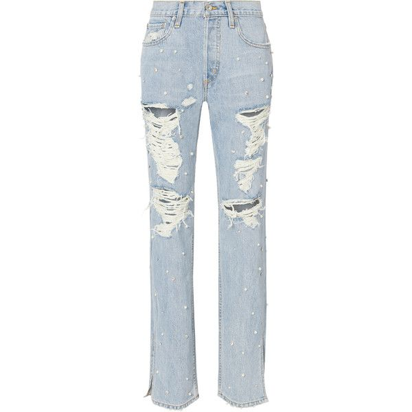 Jonathan Simkhai Pearl Studded Boyfriend Jeans  24 (5 650 SEK) ❤ liked on Polyvore featuring jeans, denim, jonathan simkhai, zipper jeans, zip jeans, raw edge jeans and pearl jeans