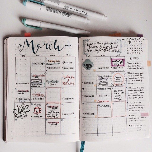 Cute March calendar! Credit to tumblr user studyfulltime                                                                                                                                                     More