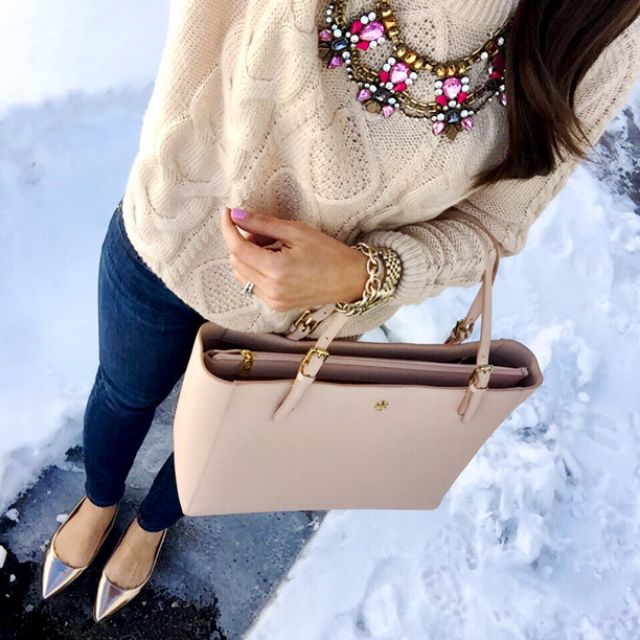 IG @mrscasual <click through to shop this look> statement necklace. Cableknit sweater. Skinny jeans. Tory burch York buckle tote. Gold flats J.Crew