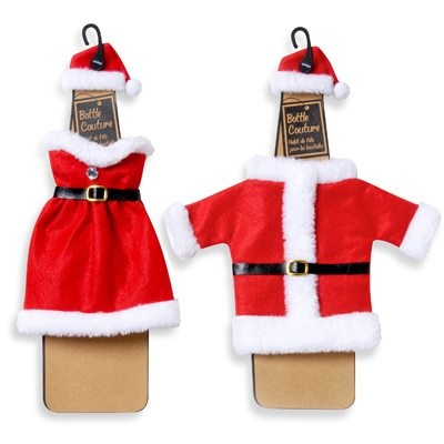 Santa Wine Clothes  This miniature Santa outfit will dress up your wine bottle in fun style. Felt outfit makes a fun presentation. Two-piece set is not for use on pets or a toy.