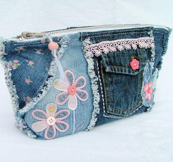Denim patchwork pencil case / cosmetic purse by poppypatchwork