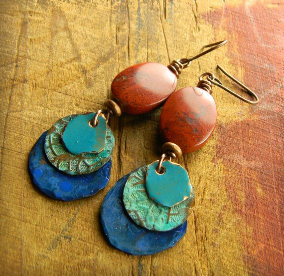 Patinated Copper Earrings with Red Jasper by Gloria Ewing.