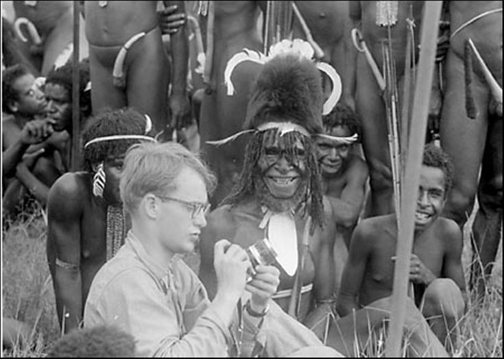 Michael Rockefeller with the Dani tribe in the Asmat region, New Guinea. Rockefeller disappeared while on expedition in 1961, initially presumed drowned, it is now thought he was killed and eaten by cannibals. [1600 x 1141]