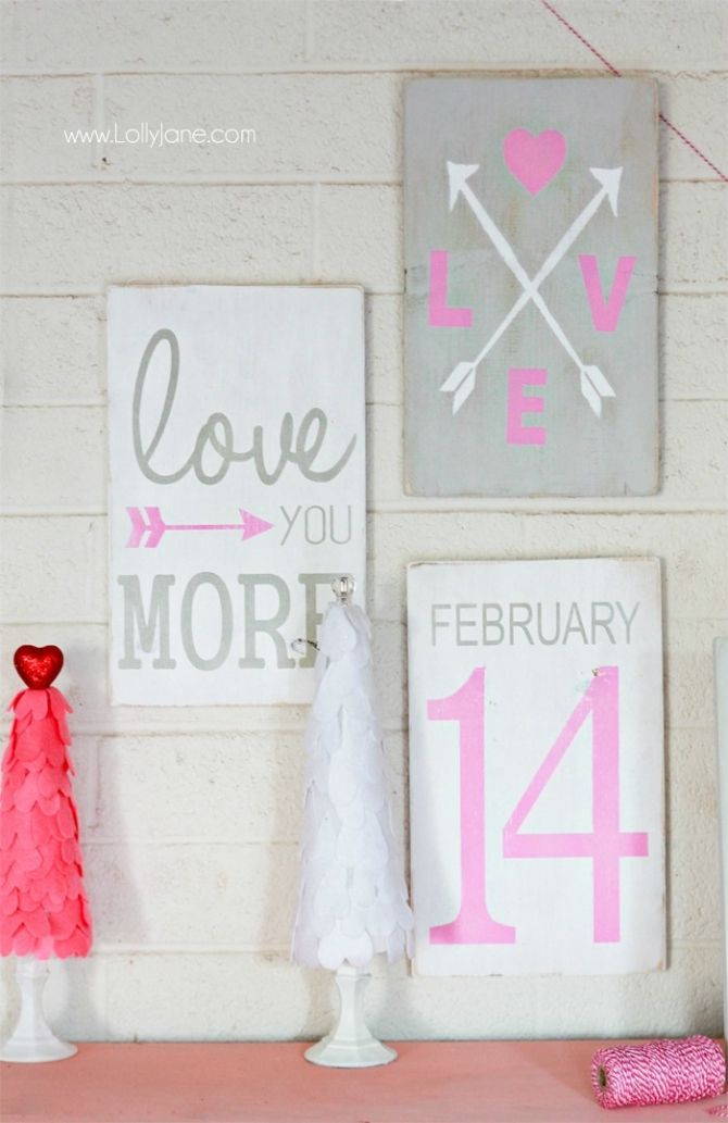 Pretty hand painted Valentine signs!