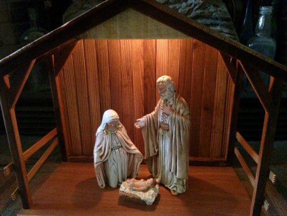 Pallet wood Nativity Stable Creche Made to by TheMomandPopWoodshop