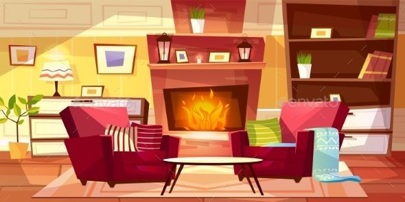 Living Room Interior Vector Illustration Cenario Anime Interiores