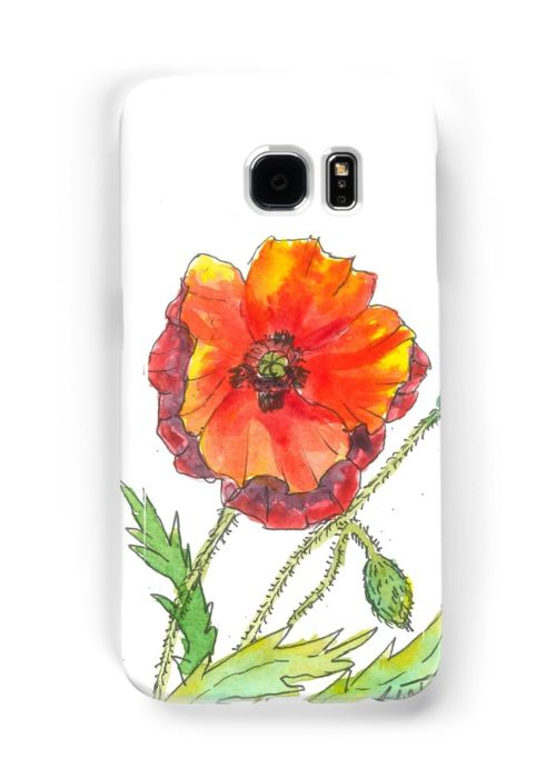 Bright cheerful and colourful. This poppy flower was spotted on my walk with the dog. A big bunch just growing wild. I came home and painted them that day. Did have a bit of trouble getting good photos of them as it was really windy! • Also buy this artwork on phone cases, apparel, kids clothes, and more.
