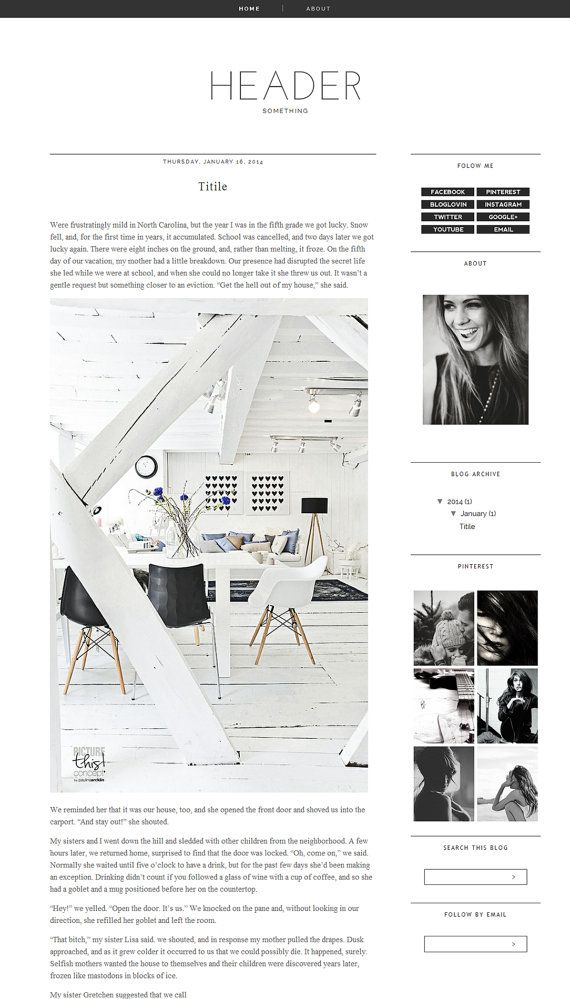 Blogger Template Premade Photography black Blog Design