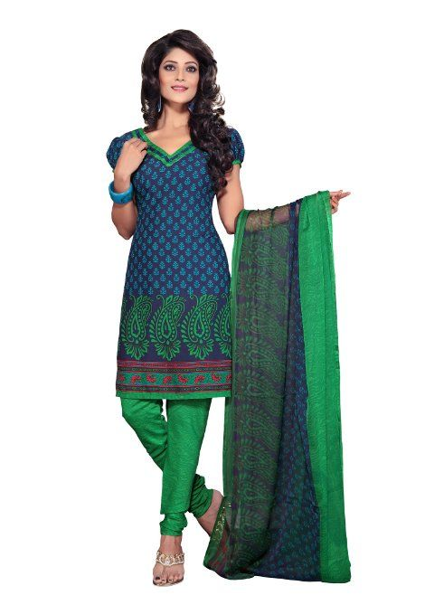 Amazon.com: Fabdeal Women's Indian Designer Wear Printed Salwar Blue & Green: Clothing