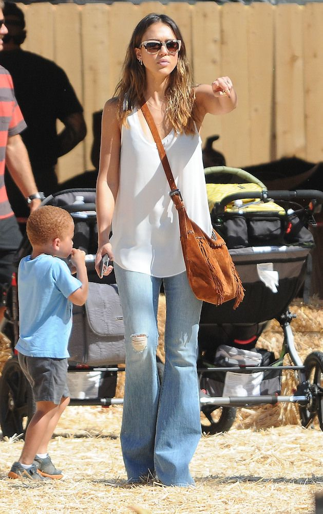 Jessica Alba in faded flare bell bottom jeans
