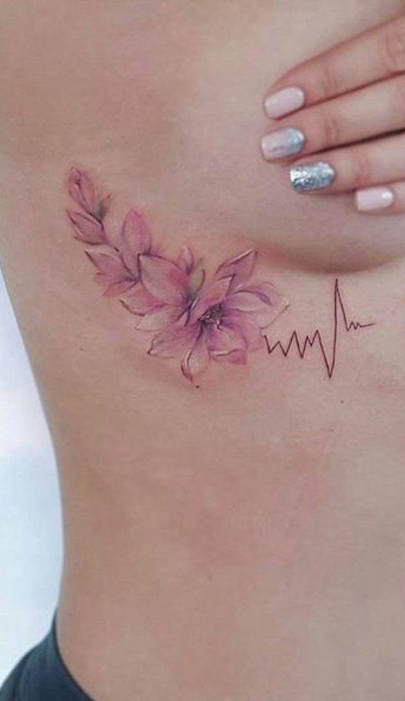 eba2f5577 Cute Floral Flower Heartbeat RIb Tattoo Ideas for Women - www.MyBodiArt.com