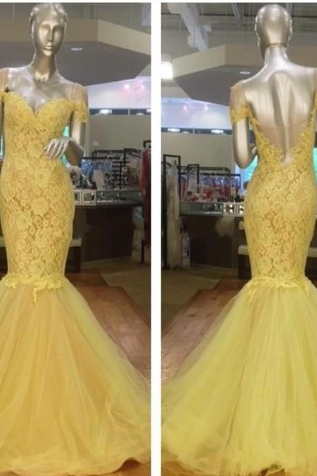 Prom Dress,Sexy Prom Dress, Yellow Lace Prom Dresses,Vintage Mermaid Yellow Evening,Prom Dress With Lace Appliques ,Special Occasion Dresses