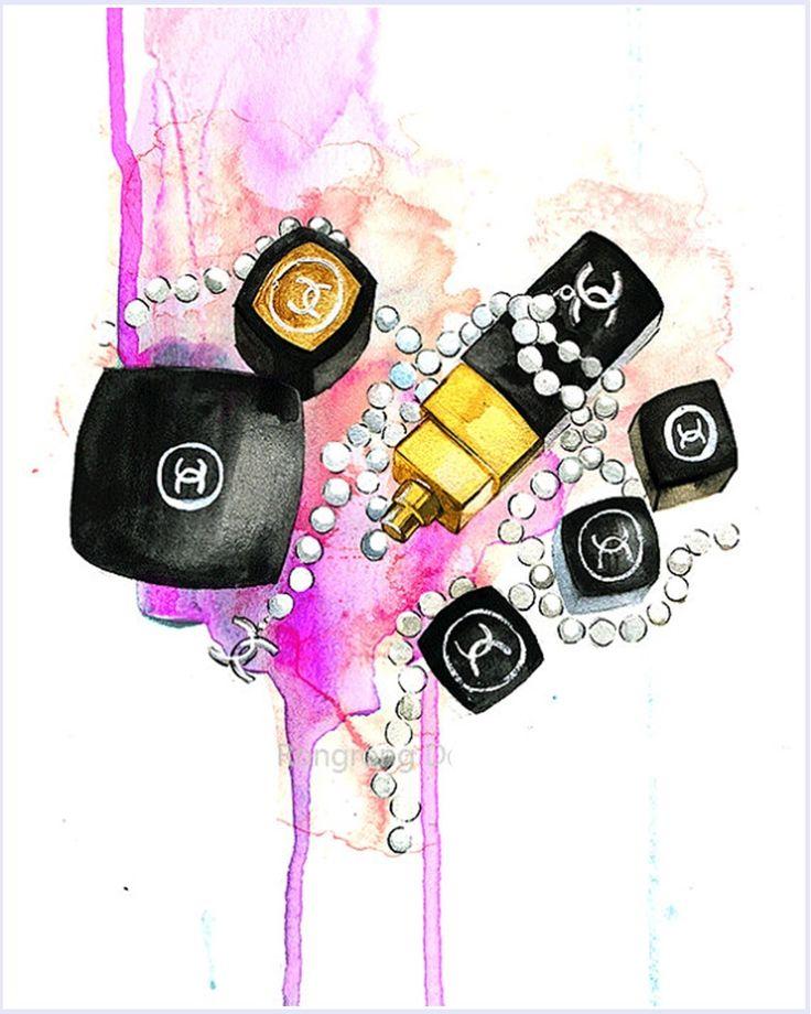 Imagens para quadrinhos - poster para imprimir - batom chanel - rosa -Blog Dikas e diy