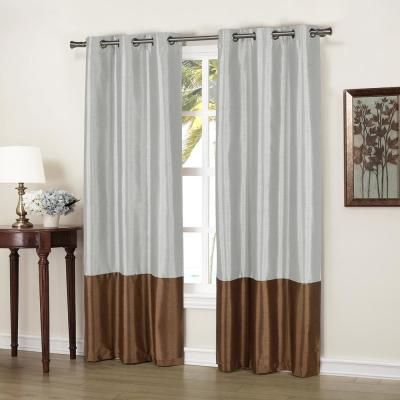 Duck River Bridgette 37 in. x 84 in. L Polyester Faux Silk Curtain Panel in Chocolate-Silver (2-Pack)