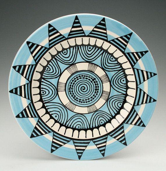 Bohemian Mandala Platter / Plate with Graphic by owlcreekceramics