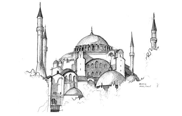 Handdrawing from my sketchbook, Sketch of  Hagia Sophia, Istanbul Turkey, 2012, from the album: drawelling, draw&travel