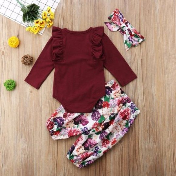 Cute Newborn Baby Girls Cotton Tops Romper Flower Pants 3Pcs Outfits Set Clothes