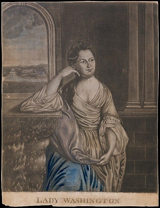 Lady Washington  Joseph Hiller, Sr. (American, Boston 1748–1814 Lancaster, Massachusetts)  Artist: After Charles Willson Peale (American, Chester, Maryland 1741–1827 Philadelphia, Pennsylvania) Sitter: Martha Washington (American, 1731–1802) Date: after 1776 Medium: Mezzotint with hand coloring Dimensions: sheet with text: 12 5/8 x 9 1/2 in. (32 x 24.1 cm) (irregular) Classification: Prints Credit Line: Bequest of Charles Allen Munn, 1924 Accession Number: 24.90.213
