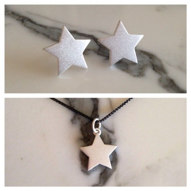 Set from Star earrings and Star necklace with silver mat surface Price: 47€