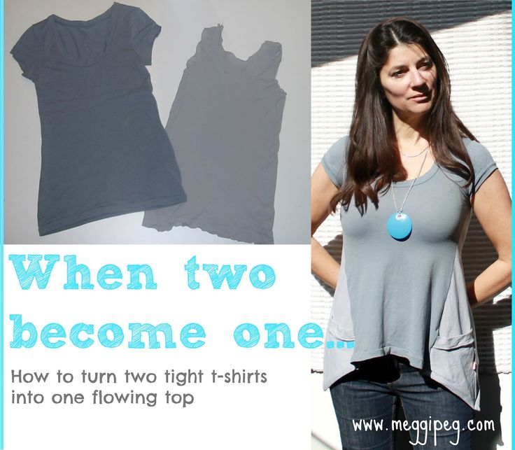 Refashion two tight t-shirts into one flowing top. Tutorial