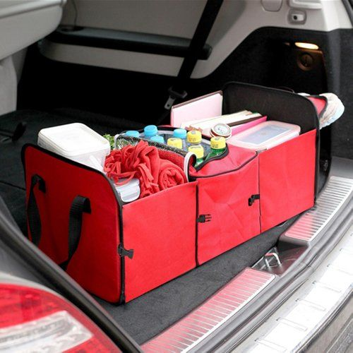 Amazon.com - SODIAL(R) RED 2 in 1 Car Boot Organiser Shopping Tidy Heavy Duty Collapsible Foldable -