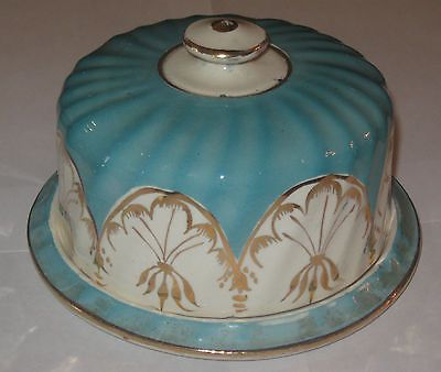 Antique Vintage China Covered Butter Dish Plate Blue Gold Hand Painted | eBay