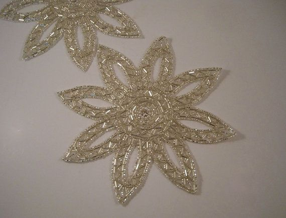 Large Silver Starburst Beaded Applique with by fabricsandtrimmings