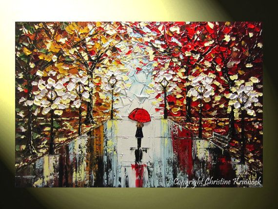Rain, Central Park, Umbrella Painting, Contemporary Fine #Art Abstract Textured Painting, Home Decor, #Autumn Trees Girl with Red Umbrella - Walk in Rain, New York, City, Lights, #NYC Modern Palette Knife Paintings by International Artist, Christine Krainock
