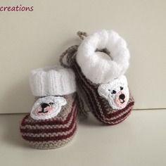 Chaussons chaussettes de bébé, 0/3 mois, tricotés en laine layette,blanc, taupe et bordeaux, @nana-creations.