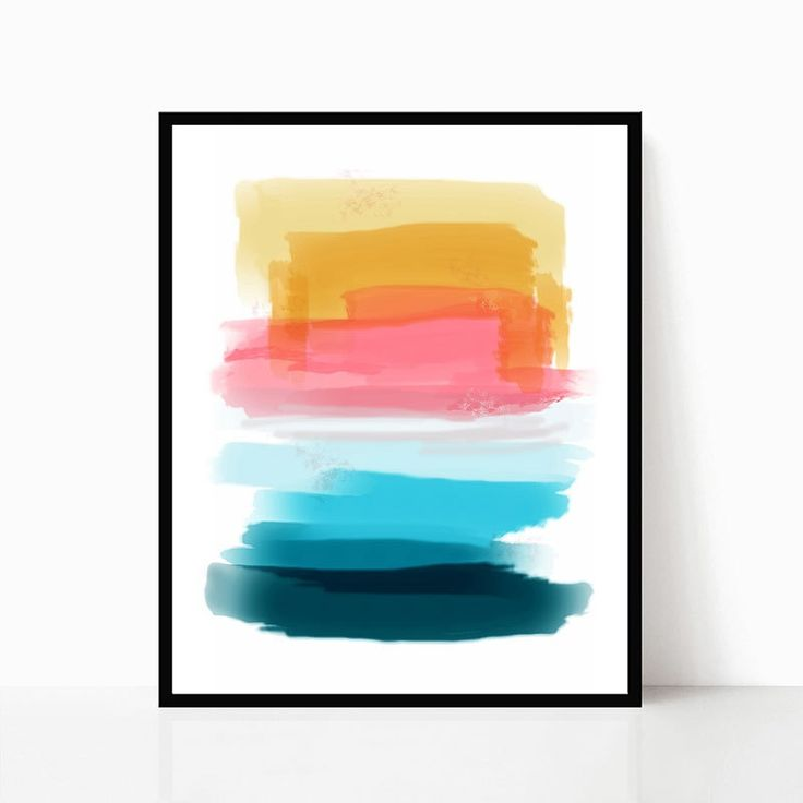 Printable Wall Art, Watercolor, Teal, Pink, Gold