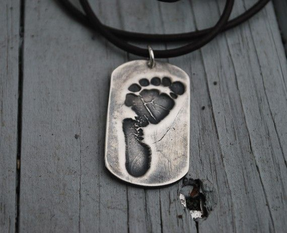 Baby Footprint NecklaceYour Baby's Actual by KLMcDesigns on Etsy, $120.00: Babies, Baby S Actual, Dog Tags, Footprint Necklaceyour, Necklaceyour Baby S, Actual Footprint Dog, Dad Necklace Infant, Baby Footprints