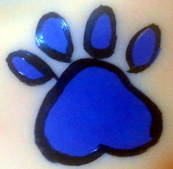 Paw Print Cheek Art Face Painting Design- for charity events for the dogs.