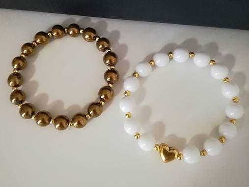 miamel / Náramok Gold Hematit-White Jadeit
