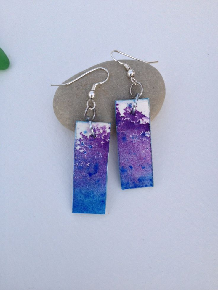 Purple and Blue Earrings  - Watercolor Dangle Earrings - Hand Painted One of a Kind Watercolour Jewelry - Blue and Purple Paper Jewelry by NiagaraGlassMosaics on Etsy
