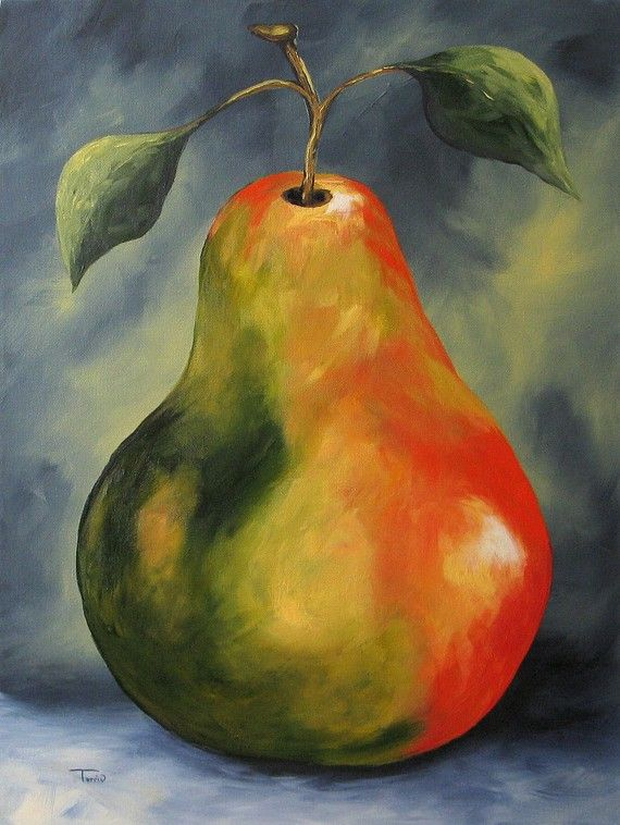 One Big Pear 18 x 24 Original Painting on Gallery Wrapped Canvas by Torrie Smiley