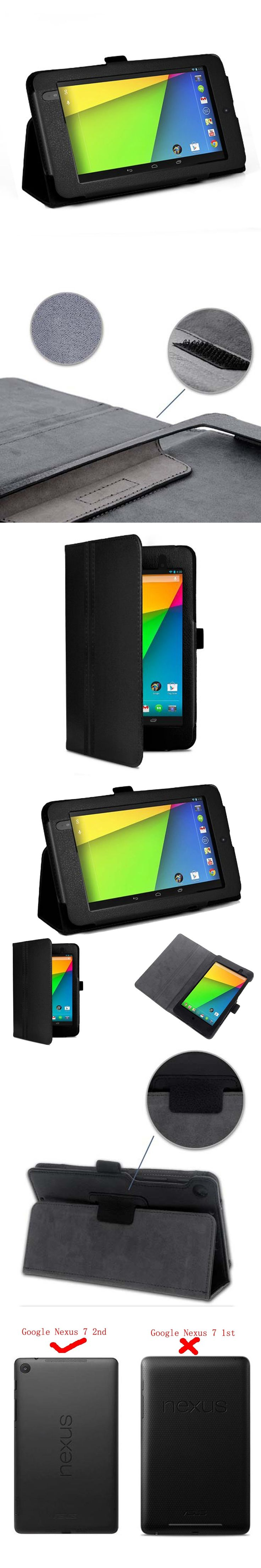 Protect pu Leather Smart Flip folio Cover Case for Google Nexus 7 2nd 2013 model with
