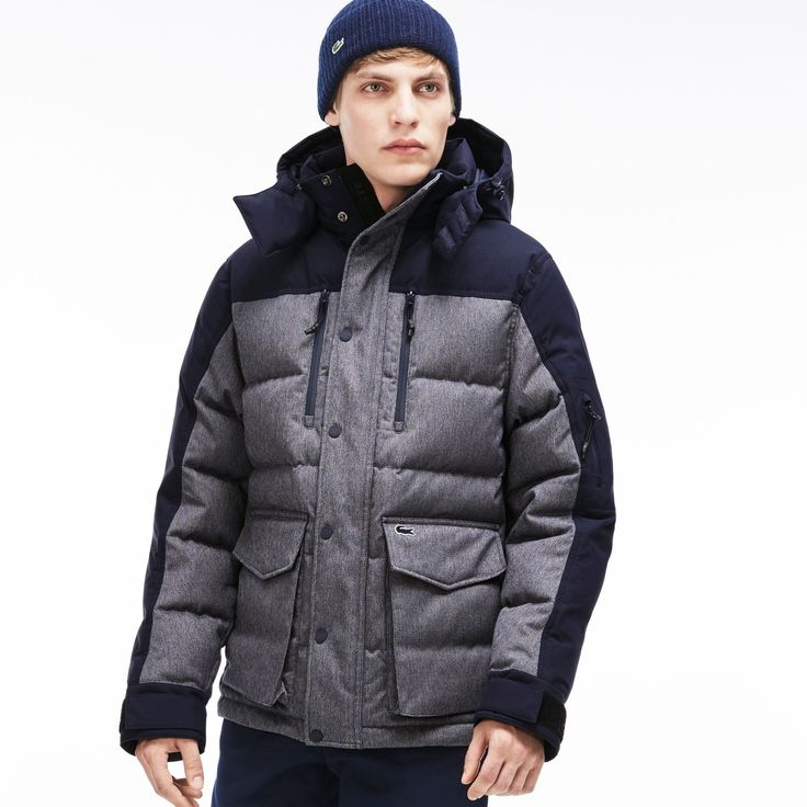 LACOSTE Men'S Two-Tone Down Parka - Cosmos Mouline/Cosmoscosmos Mouline/Cosmos. #lacoste #cloth #all