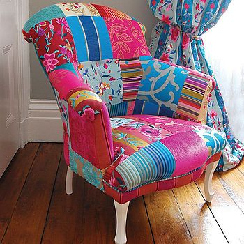 I love this beautiful chair and I want to do one like this my self. The colours are contrasting and the patterns work so well. Take a vintage chair and given it a modern twist.